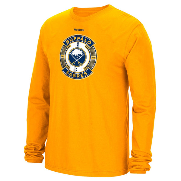 "Buffalo Sabres NHL Reebok Gold ""Slick Pass"" Graphic Long Sleeve T-Shirt"