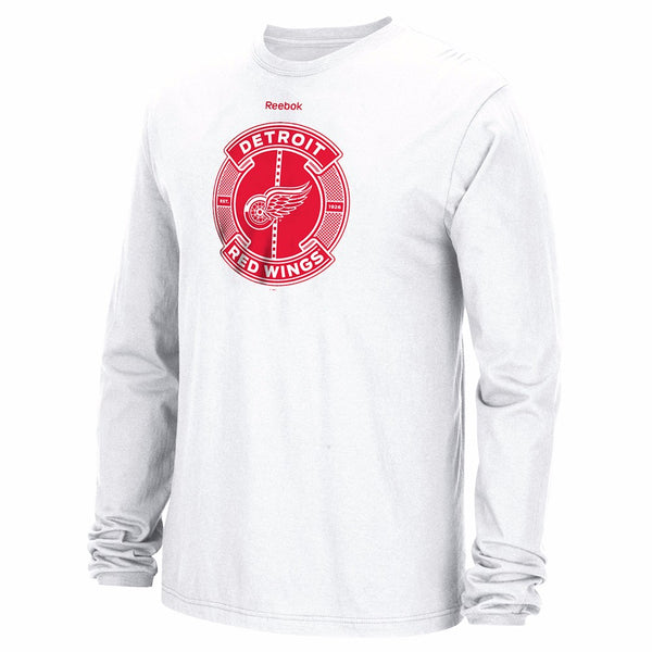 "Detroit Red Wings NHL Reebok White ""Slick Pass"" Graphic Long Sleeve T-Shirt"