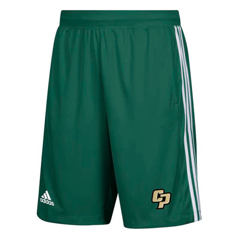 Cal Poly Mustangs NCAA Adidas Men's Climalite Dark Green 3-Stripes Knit Shorts