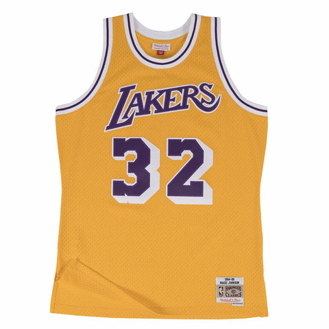 Magic Johnson Los Angeles Lakers NBA M&N Yellow 1984-85 Lakers Swingman Jersey