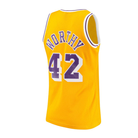 James Worthy Los Angeles Lakers NBA M&N Gold 1984-85 HC Swingman Jersey