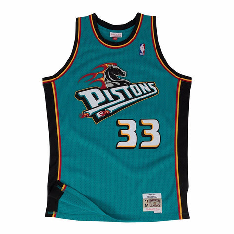 Grant Hill Detroit Pistons NBA M&N Teal 1998-99 Swingman Throwback Jersey