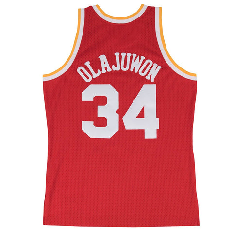 Hakeem Olajuwon Houston Rockets NBA M&N Red 1993-94 Swingman Throwback Jersey