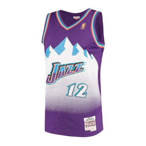 John Stockton Utah Jazz NBA M&N Purple 1996-97 Hardwood Classics Swingman Jersey