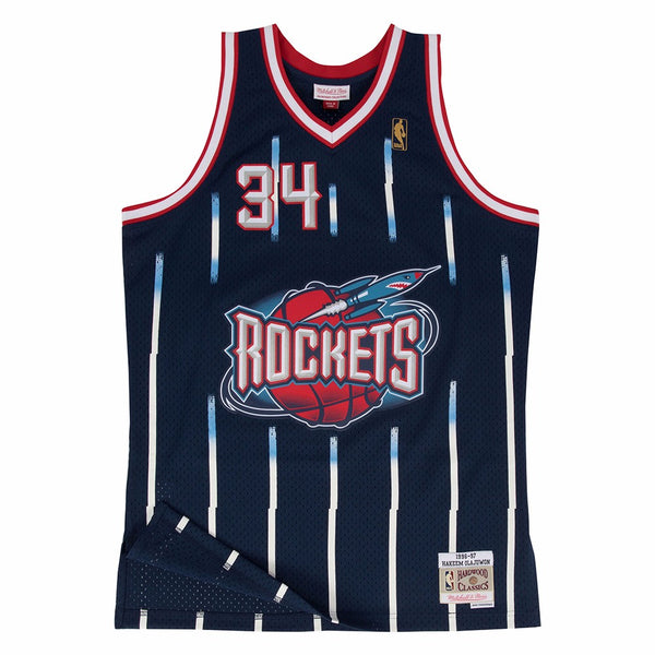 Hakeem Olajuwon Houston Rockets NBA M&N Navy 1996-97 Swingman Jersey