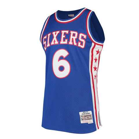 Julius Erving Philadelphia 76ers NBA M&N Blue 1976-77 HC Swingman Jersey
