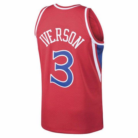 Allen Iverson Philladelphia 76ers NBA M&N Red 1996-97 Swingman Throwback Jersey