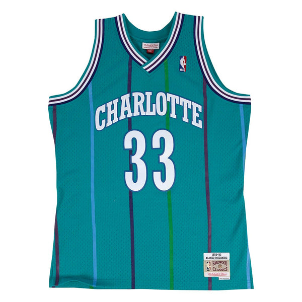Alonzo Mourning 1992-93 Charlotte Hornets Mitchell & Ness Teal Swingman Jersey