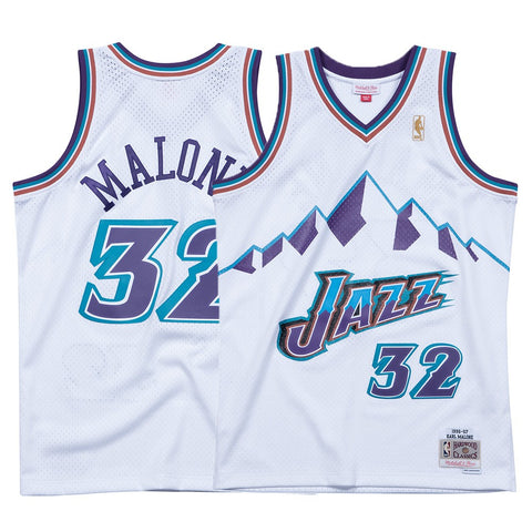 Karl Malone NBA Utah Jazz Men's Mitchell & Ness White 1996-97 Swingman Jersey