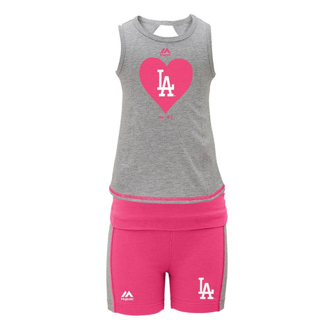 Los Angeles Dodgers MLB Majestic Grey Tank Top & Shorts Set Little Girls (4-6X)