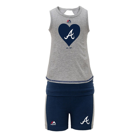 Atlanta Braves MLB Majestic Grey Tank Top & Shorts Set Little Girls (4-6X)