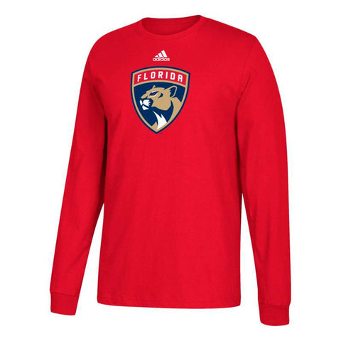 Florida Panthers NHL Adidas Men's Red Team Primary Logo Long Sleeve T-Shirt