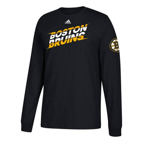 "Boston Bruins NHL Adidas Men's Black ""Line Shift"" Team Logo Long Sleeve T-Shirt"