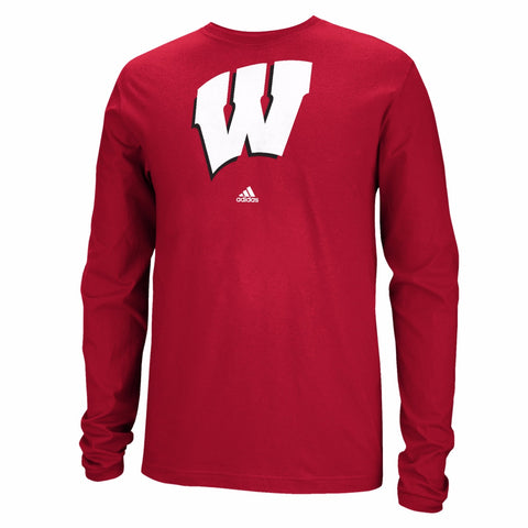 Wisconsin Badgers NCAA Adidas Men's Red Logo Long Sleeve T-Shirt