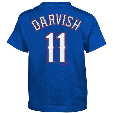 Yu Darvish MLB Majestic Texas Rangers Alternate Blue Jersey T-Shirt Boys (4-7)