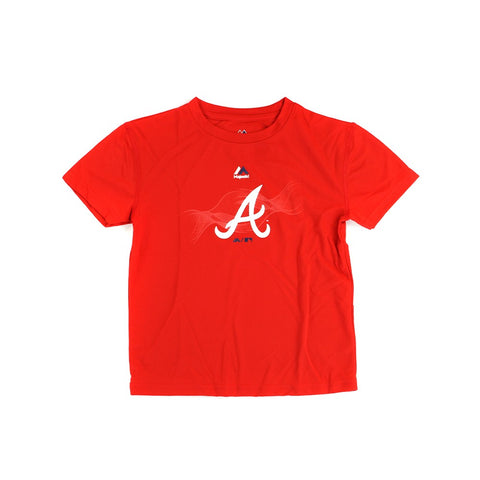 "Atlanta Braves Majestic MLB Boys Red ""Kinetic"" Cool Base T-Shirt"