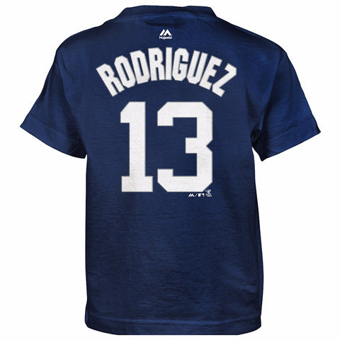 Alex Rodriguez New York Yankees MLB Majestic Boy's Navy Blue Player Jersey Shirt