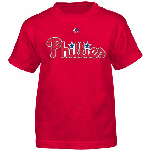 Chase Utley Philadelphia Phillies MLB Majestic Boys Red Player Jersey T-Shirt