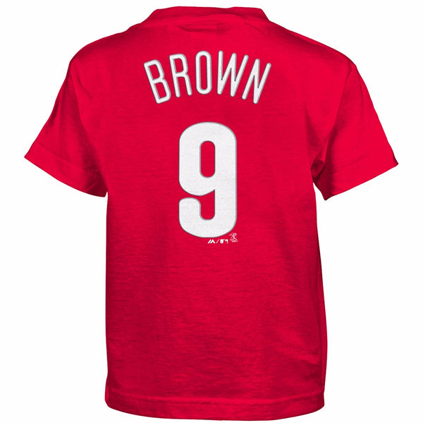 Domonic Brown Philadelphia Phillies MLB Majestic Boy's Red Player Jersey T-Shirt