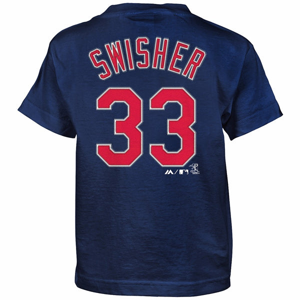 Nick Swisher Cleveland Indians MLB Majestic Boy's Navy Blue Player Jersey Shirt