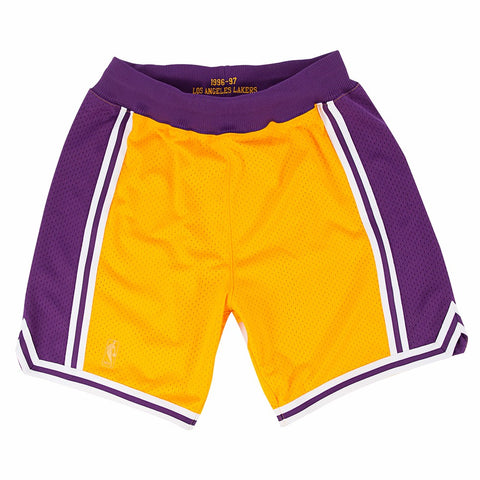 Los Angeles Lakers NBA Mitchell & Ness Gold 1996-97 Throwback Home Shorts