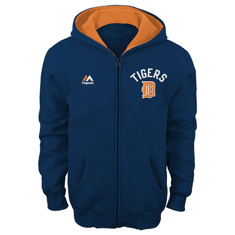 "Detroit Tigers MLB Majestic Navy ""Basic Play"" Full Zip Hoodie Fleece Boys (4-7)"