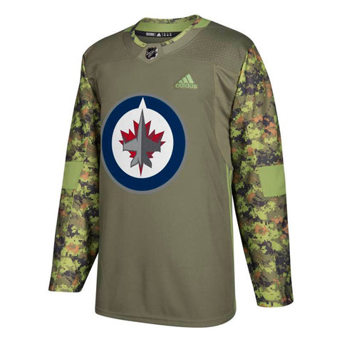 688357ca4ef Winnipeg Jets NHL Adidas Camo 17-18 Authentic Armed Forces Camo Practice  Jersey