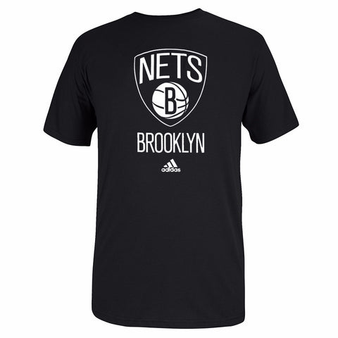 Brooklyn Nets NBA Adidas Men Black Official Team Full Primary Logo Print T-Shirt
