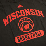 "Wisconsin Badgers NCAA Adidas Men's Black Graphic ""Go-To"" Basketball T-Shirt"