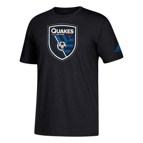 San Jose Earthquakes MLS Adidas Men's Squad Primary Team  Black T-Shirt