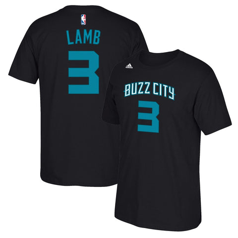 Jeremy Lamb Adidas Charlotte Hornets N&N Faux Stitch Player Black T-Shirt Men's