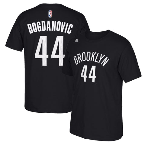Bojan Bogdanovic NBA Brooklyn Nets Men's Black Faux Stitch Name & Number T-Shirt