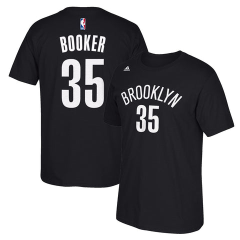 Trevor Booker NBA Brooklyn Nets Men's Black Faux Stitch Name & Number T-Shirt