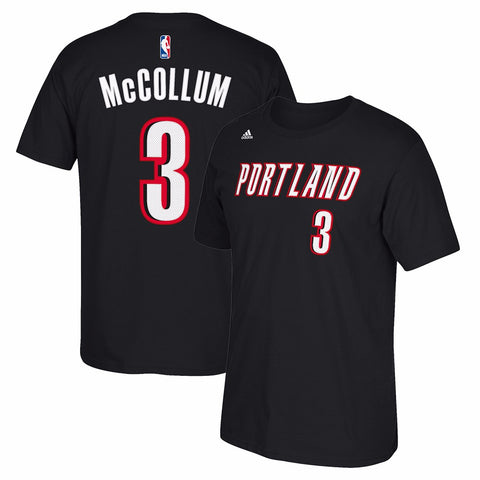 CJ McCollum Portland Trail Blazers NBA Adidas Black Name & Num Faux Stitch Shirt