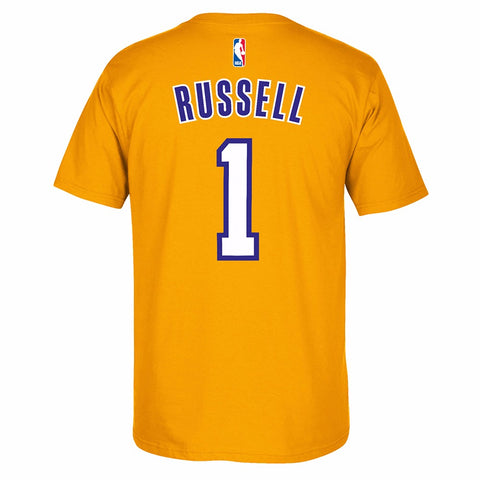 D'Angelo Russell Los Angeles Lakers NBA Adidas Men Gold Name & Number T-Shirt