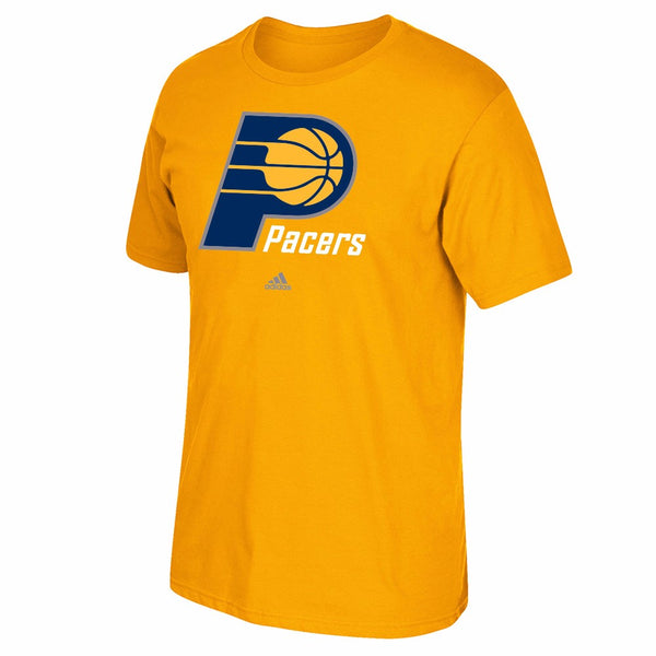 Indiana Pacers NBA Adidas Men Gold Official Team Full Primary Logo Print T-Shirt