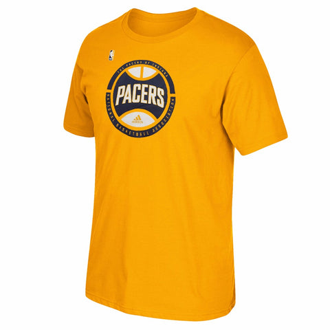Indiana Pacers NBA Men's Gold Center Court Graphic Short Sleeve T-Shirt