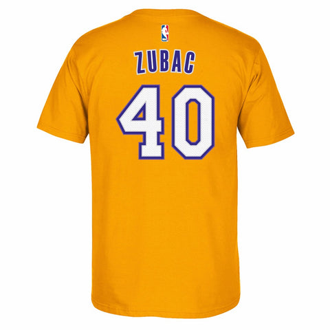 Ivica Zubac Los Angeles Lakers NBA Adidas Gold Name & Number Faux Stitch Shirt