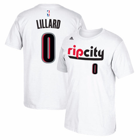 Damian Lillard Portland Trail Blazers NBA Adidas White Name & Number T-Shirt