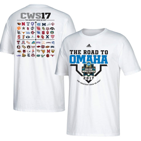 "2017 College World Series  Adidas ""The Road to Omaha"" Men's White T-Shirt"