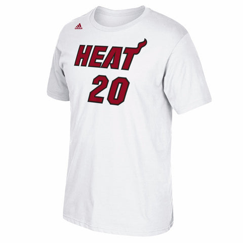 Justise Winslow Miami Heat NBA Adidas White Name & Number Faux Stitch Shirt
