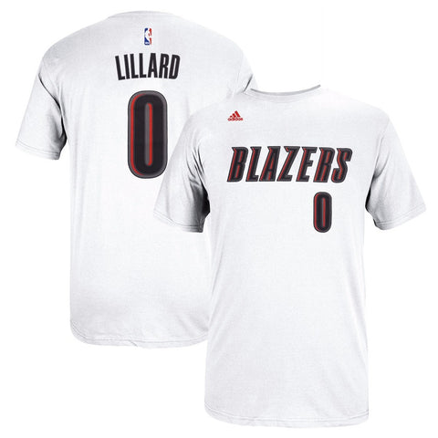 Damian Lillard NBA Portland Trail Blazers Mens White Faux Stitch Player T-Shirt