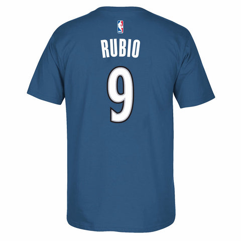 Ricky Rubio Minnesota Timberwolves NBA Adidas Blue Player Name & Number T-Shirt