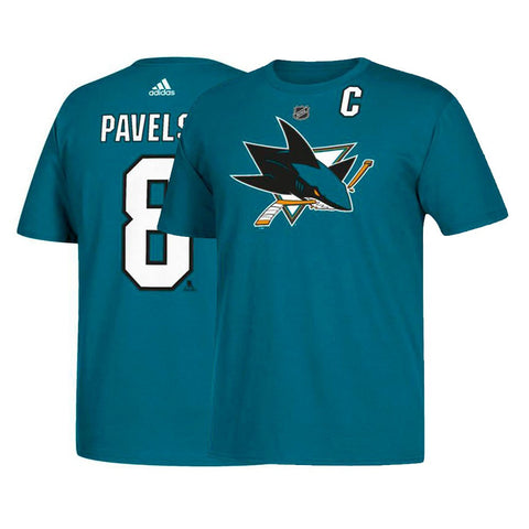 Joe Pavelski NHL San Jose Sharks Adidas Men's Name & Number Jersey Teal T-Shirt