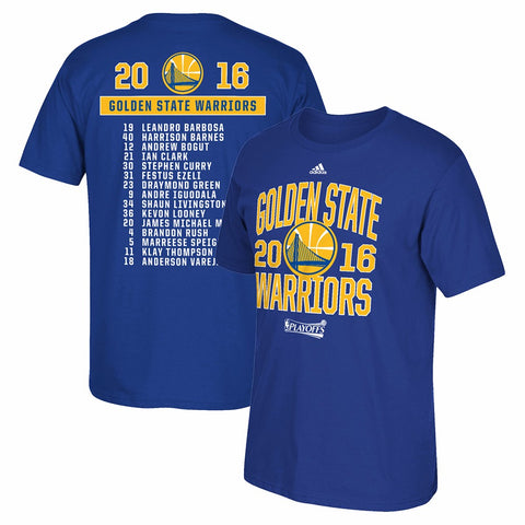 Golden State Warriors NBA Adidas Men Blue 2016 NBA Finals Team Roster T-Shirt