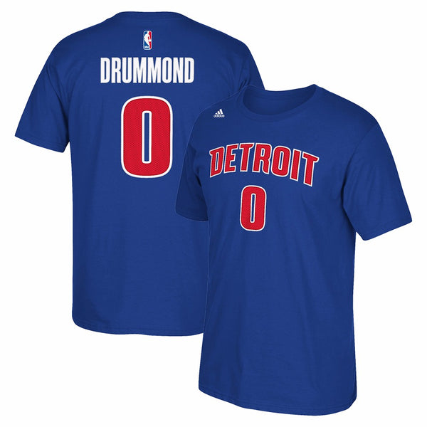Andre Drummond Detroit Pistons NBA Adidas Blue Name&Num Faux Stitch Shirt