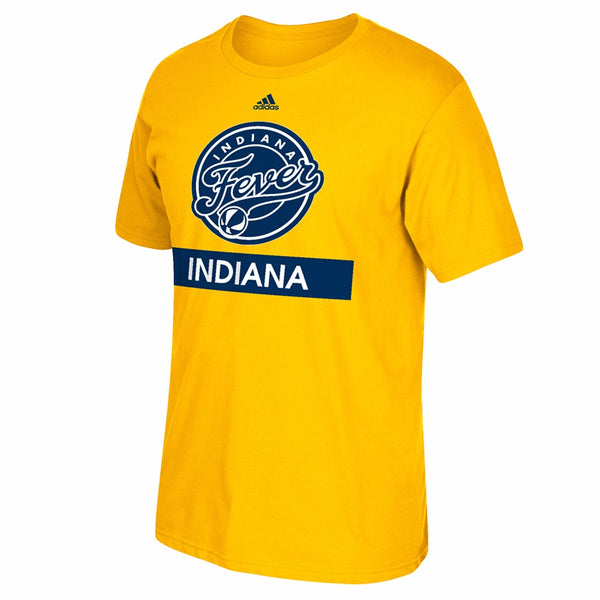 "Indiana Fever WNBA Adidas Gold ""Loud and Proud"" Graphic Print T-Shirt"