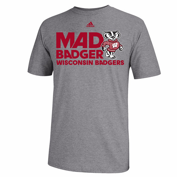 "Wisconsin Badgers NCAA Adidas Men's Grey ""Mad Badger"" Go-To T-Shirt"