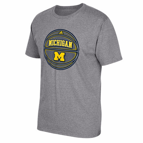 "Michigan Wolverines NCAA Adidas Men's Grey Michigan Basketball ""Go-To"" T-Shirt"