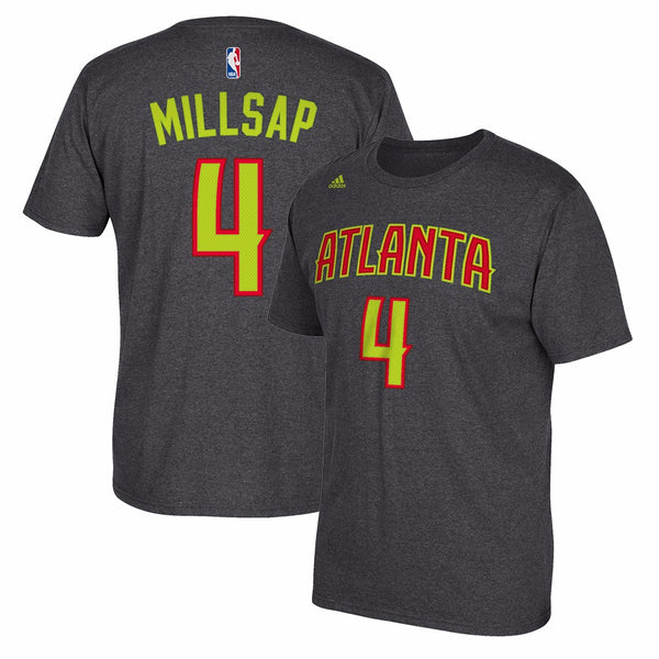 Paul Millsap Atlanta Hawks NBA Adidas Grey Name & Number Faux Stitch T-Shirt